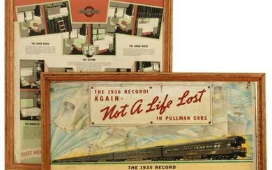 TWO PULLMAN RAIL CAR ADVERTISING POSTER PLACARDS