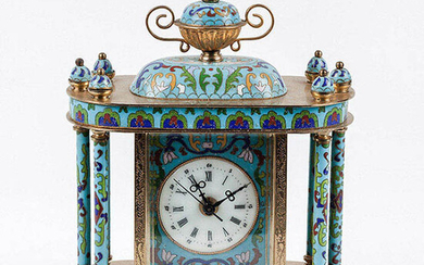 Table clock in gold metal with cloisonné enamel, made...