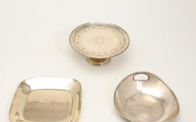 Tiffany, mixed lot of bowls and paten, sterling silver, New York (3).