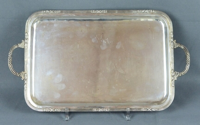 Tray, with two handles, fluted circumferential rim with vegetal motives, silver 900, balyan, 625g
