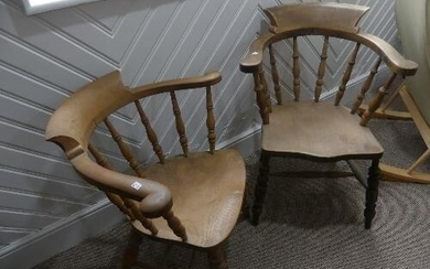 Two 19th century beech and elm Smokers Bow Chairs (2)