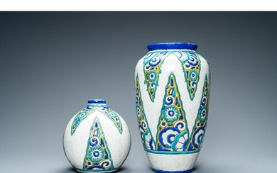 Two Boch Keramis Art Deco vases with crackled glazes, 1st ha...
