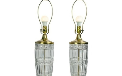 """Waterford Irish Cut Crystal Signed 34"""" Table Lamps"""