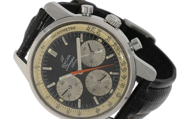 Wristwatch: wanted vintage chronograph, ENICAR, REF. 072-001, 'SHERPA GRAPH', VALJOUX 72, very rare black and white dial version, ca. 1967