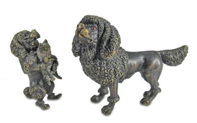2 Antiques Vienna bronze small dogs