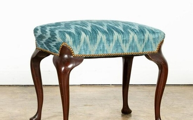 20TH C. QUEEN ANNE BENCH WITH SCALAMANDRE FABRIC