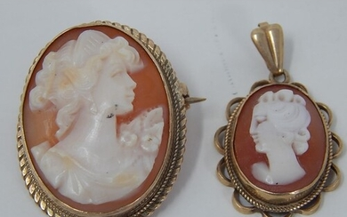 9ct gold vintage cameo pendant and brooch: 9694