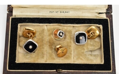 A CASED SET OF EARLY 20TH CENTURY 18CT GOLD AND PLATINUM MOU...