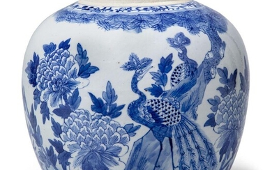 A Chinese porcelain blue and white jar, 19th century, painted with two peacocks beneath a pine tree amidst chrysanthemum sprays, 21cm high