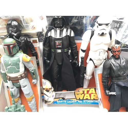 A Collection of Star Wars 18inch figures including Bobba Fet...