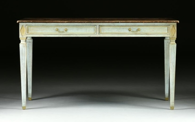 A DIRECTOIRE STYLE PAINTED WOOD BUREAU PLAT, LATE 20TH