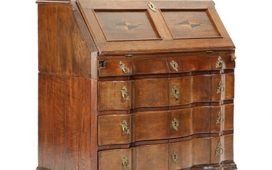 NOT SOLD. A Danish Baroque oak bureau, front with four drawers and writing leaf. 18th...