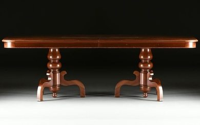 A FEDERAL STYLE BURLED WALNUT TWO PEDESTAL DINING