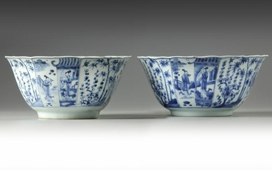 A PAIR OF CHINESE BLUE AND WHITE FOLIATE-RIMMED BOWLS