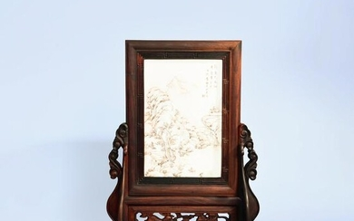 A PORCELAIN PLATE INLAID ROSEWOOD TABLE SCREEN