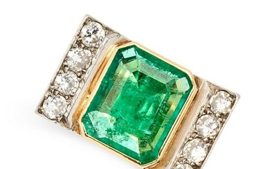 A RETRO COLOMBIAN EMERALD AND DIAMOND RING in 18ct