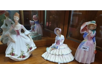 A Royal Doulton Figure of The Country Rose (HN3221), Miss De...
