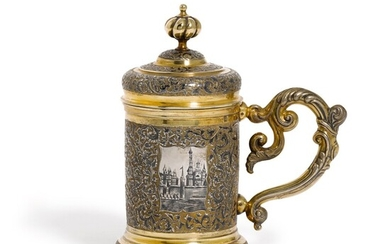 A Russian parcel-gilt silver and niello tankard, maker's mark unclear, Moscow, 1847