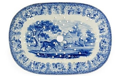 A Staffordshire Pearlware Drainer, possibly John Denton Bagster, circa 1820,...