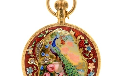 A Swiss diamond set 18ct gold and guilloche and painted enam...