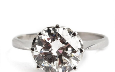 A diamond solitaire ring set with a brilliant-cut diamond weighing app. 3.00 ct., mounted in 18k white gold. G/VS. Size 55.5. – Bruun Rasmussen Auctioneers of Fine Art