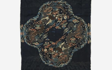 "A large Chinese woven silk ""Dragon"" panel for a robe"