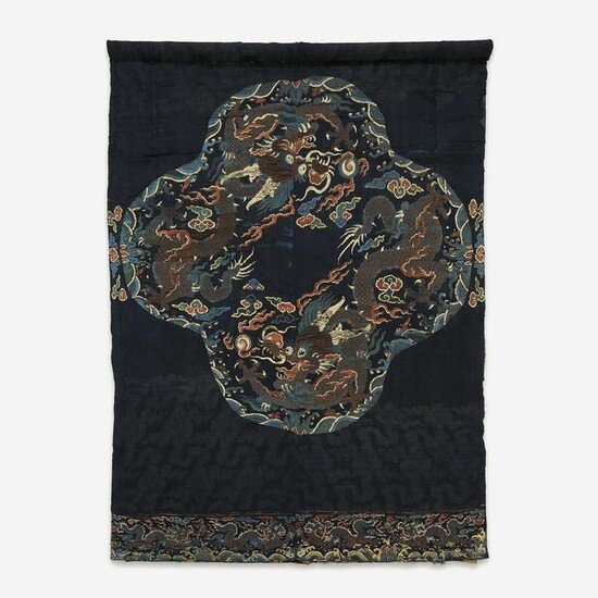 """A large Chinese woven silk """"Dragon"""" panel for a robe"""