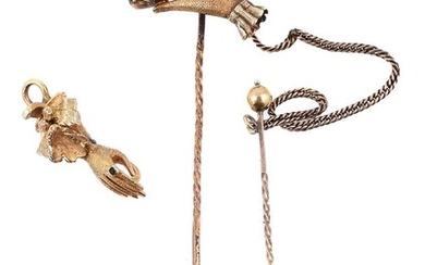 A late Victorian hand shaped stick pin