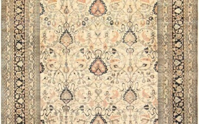ANTIQUE LARGE PERSIAN IVORY ALLOVER KHORASSAN CARPET. 17 ft x 11 ft 7 in (5.18 m x 3.53 m).
