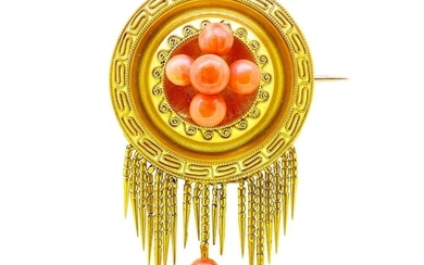 ANTIQUE VICTORIAN CORAL DROP BROOCH, set to the center with ...