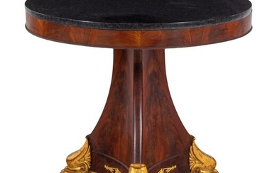 An Empire Style Parcel Gilt Mahogany Marble-Top Center