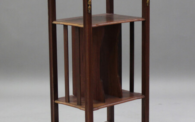 An early 20th century French walnut magazine stand with gilt metal mounts, height 102cm, width 45cm