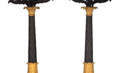 An imposing pair of Charles X style candelabras, in the manner of Thomire, H 90 cm