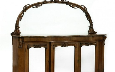 Antique English Mirrored Rosewood Credenza