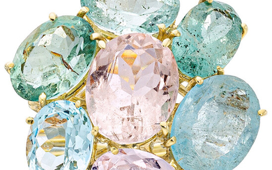 Beryl, Gold Ring The ring features oval-shaped beryl, aquamarine...