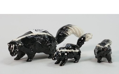 Beswick Skunk family: comprising models 1308,1309 and 1310 (...