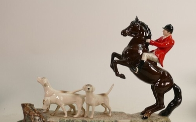 """Beswick tableau """"Tally Ho"""": Huntsman on rearing horse with t..."""