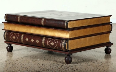 COFFEE TABLE COMPRISED OF FAUX BOOKS LEATHER