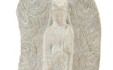 Chinese Carved Stone Guanyin Figure on Stand