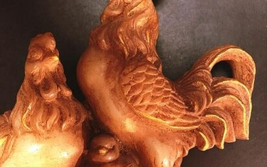 Chinese Old Jade Gilded Rooster, Hen and Chick