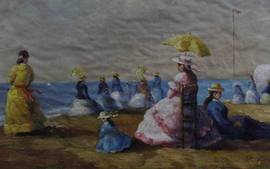 Continental School, 20th century, oil on canvas - A Day on the Beach, indistinctly signed, in glazed gilt frame, 56cm x 87cm
