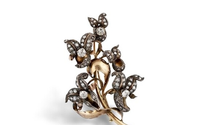 DIAMOND, GOLD AND SILVER BROOCH