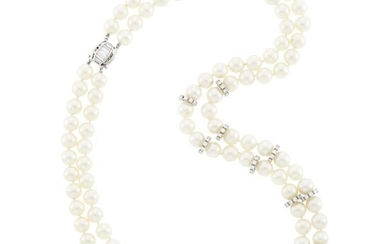 Double Strand Cultured Pearl, Platinum, White Gold and Diamond Necklace