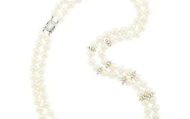 Double Strand Cultured Pearl, Platinum, White Gold and