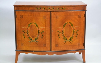 EDWARDIAN STYLE PAINTED AND INLAID SATINWOOD CABINET