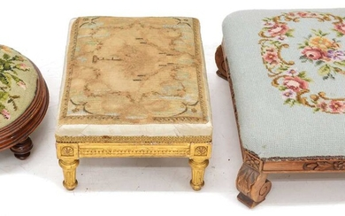 Early 20th-century French footstool and two others