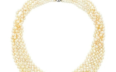 Five Strand Cultured Pearl Necklace with Antique