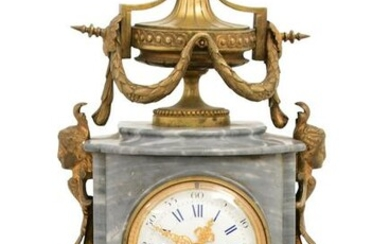 French Gilt Bronze Mounted Marble Mantel Clock