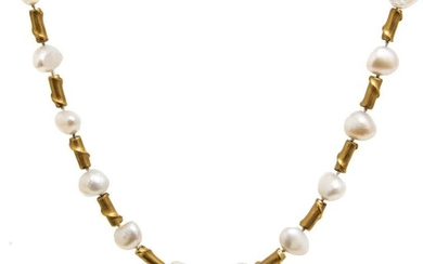 GIA 18K Yellow Gold Branch-Form Motif Tubular Beads and