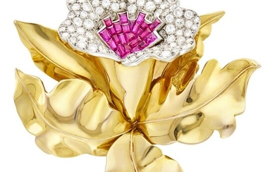 Gold, Platinum, Ruby and Diamond Flower Clip-Brooch, France